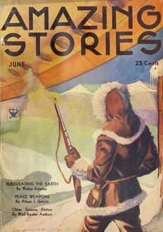 Amazing Stories Scifi magazine cover, Subjugating Earth