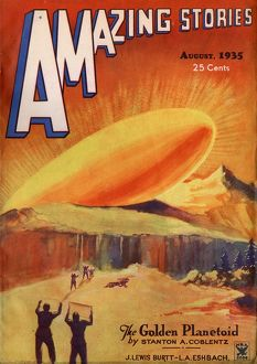 Amazing Stories Scifi magazine cover, The Golden Planetoid