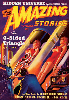 Amazing Stories Scifi magazine cover - Futuristic Human Cloning