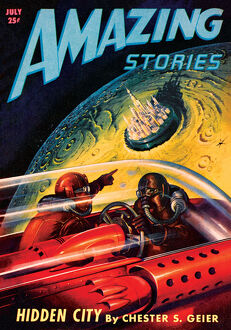 Amazing Stories Scifi Magazine Cover with Hidden Lunar City
