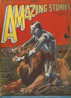 Amazing Stories scifi magazine cover, Robot and lion