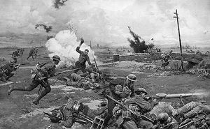 Australian troops counter-attack at Amiens, WW1