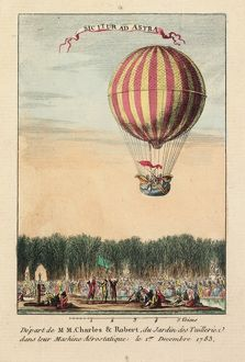 Balloon ascent from Tuileries Gardens, Paris