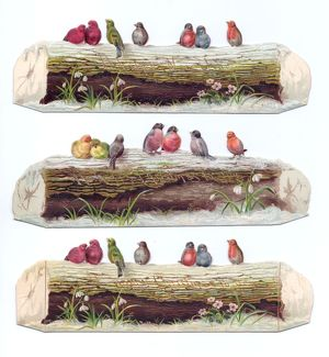 Birds perched on logs on three cutout Christmas cards