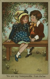 Boy and girl on bench by Florence Hardy