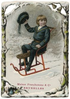 BOY ON SLEDGE C1880