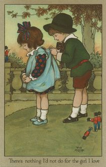 Boy ties his love's pinafore by Florence Hardy