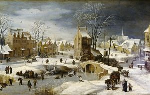 Breugel, Pieter II, The Younger. Winter Scene with Ice Skaters.