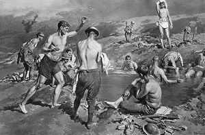 British soldiers bathing in flooded shell hole by Matania