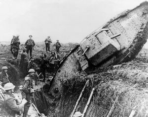 British soldiers with tank in trench, Ribecourt, France, WW1