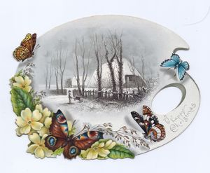 Butterflies and flowers on a palette-shaped Christmas card