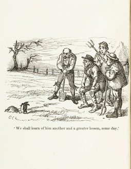 Cartoon of clay-diggers / peasants and mole.