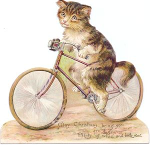 Cat on a bicycle on a cutout Christmas card