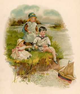 CHILDREN PLAY WITH BOAT