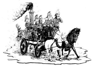 london fire brigade/chris reynolds victorian fire engine cartoon