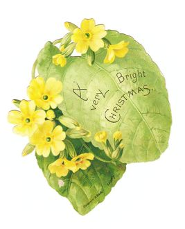 Christmas card in the shape of a green leaf with primroses