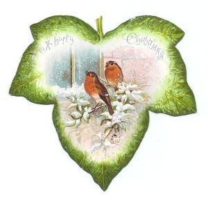 Christmas card in the shape of a green leaf with robins