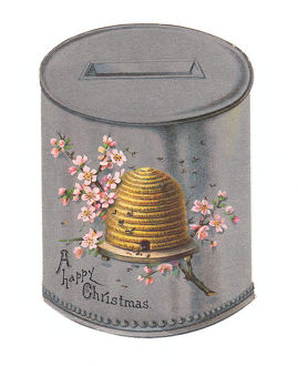 Christmas card in the shape of a honey pot