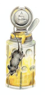 Christmas card in the shape of a honey pot with mouse