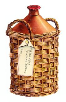 Christmas card in the shape of a jug in a basket