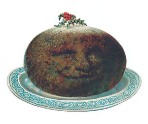 Christmas card in the shape of a pudding