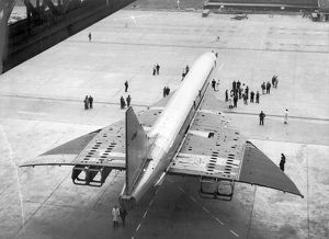 Concorde 002 under tow from the Brabazon Hangar at Filton