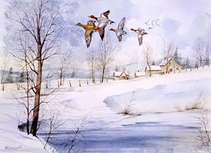 Country landscape in winter with flying ducks