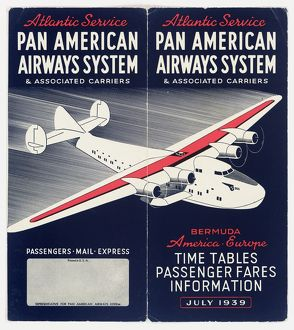 Cover design, Pan American Airways timetable