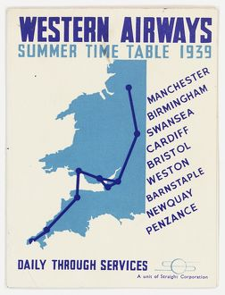 Cover design, Western Airways timetable