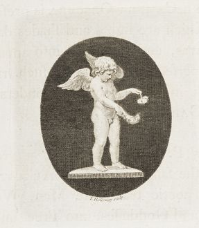 Cupid with flaming torch and flower.