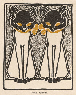 TWO DECORATIVE CATS 1904