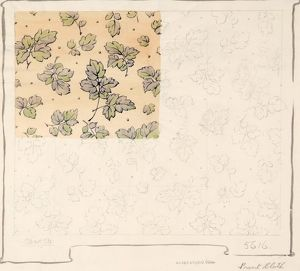 Design for Dress Silk or Print with leaves