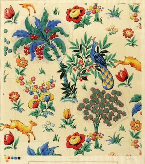 Design for Printed Textile with animals, birds and flowers