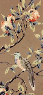 Design for Printed Textile with bird and fruit