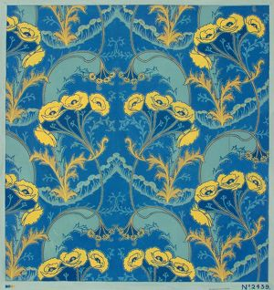 Design for Printed Textile in blue and yellow