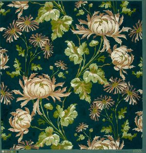 Design for Printed Textile in brown, green and black