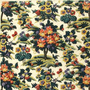 Design for Printed Textile with flowers and trees