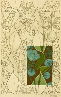 Design for Textile with blue flowers