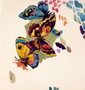 Design for Textile / Sketches with butterflies