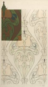 Design for Textile or Wallpaper in green and brown