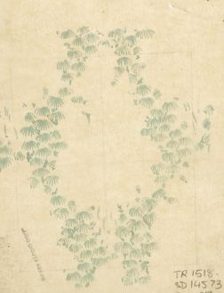Design for Textile or Wallpaper with pale green leaves