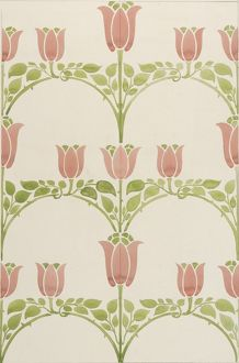 Design for Textile or Wallpaper with tulips