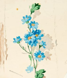 Design for Wallpaper with bright blue flowers