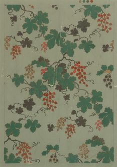 Design for Wallpaper with leaves and berries