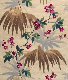 Design for Wallpaper with leaves and flowers
