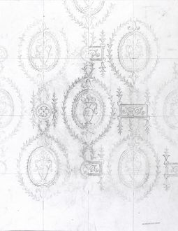 Design for Wallpaper with vases of flowers