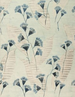 Design for Woven Textile with blue flowers