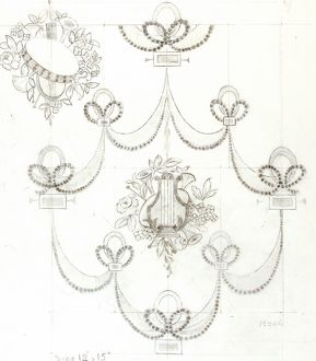 Design for Woven Textile with musical instruments