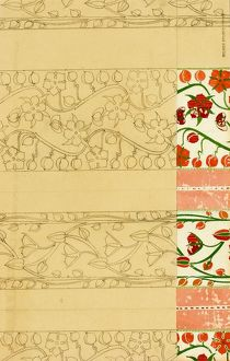 Design for Woven Textile in pink, red and green
