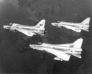 Three English Electric Lightnings flying from Warton